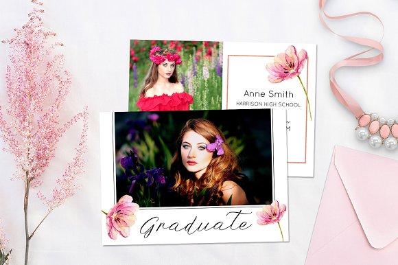 graduation announcement template card templates creative market