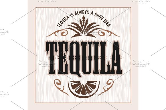 Vintage Alcohol Tequila Drink Vector Bottle Label Sticker Or Poster For Tequila Tipple