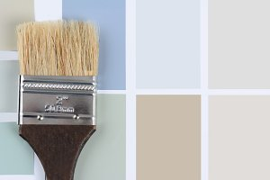 Paint Brush Brown Handle Color Chips