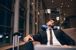 Young businessman asleep