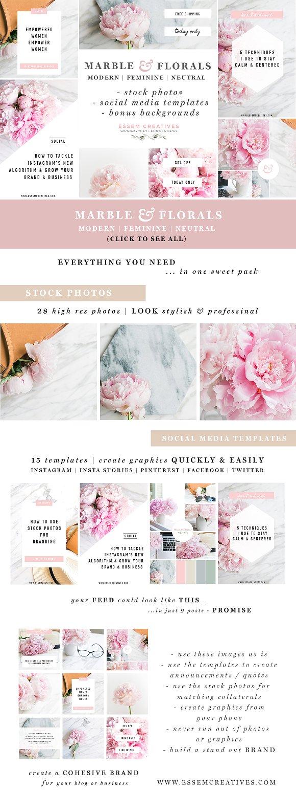 Marble Floral Social Media Branding