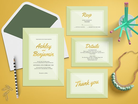 Green Wedding Invitation Suite