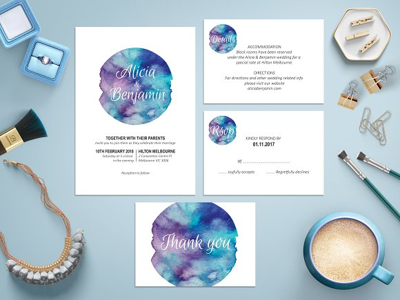 Blue Watercolor Wedding Suite