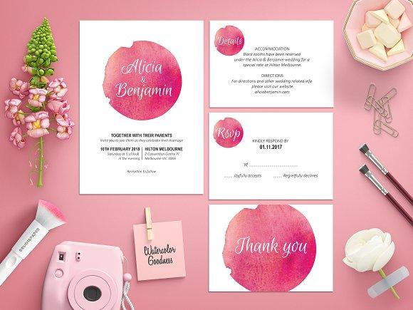 Pink Watercolor Wedding Suite