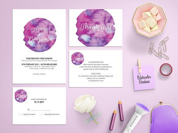 Purple Watercolor Wedding Invitation