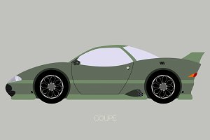 retro futuristic coupe car