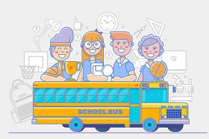 School children activities. linear education poster isolated on white background. Vector illustration