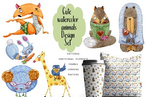 Cute watercolor animals Design Set