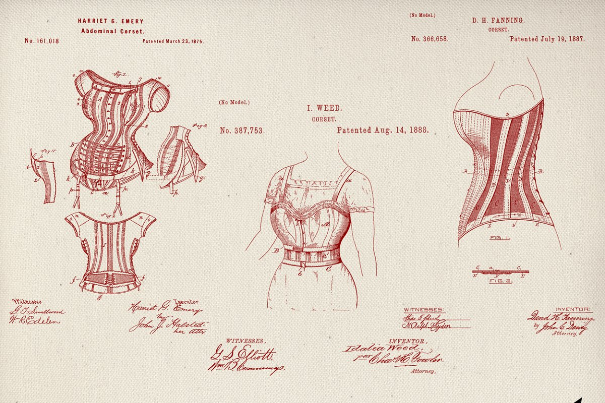 Corset Patent Drawing Brushes Set in Photoshop Brushes - product preview 8
