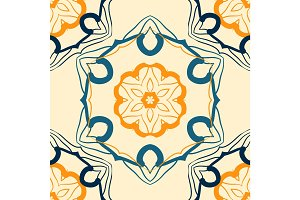Seamless indian mandala pattern for printing on fabric or paper. Hand drawn background. Colorful vintage arabic print.