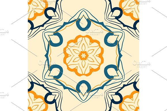 Seamless Indian Mandala Pattern For Printing On Fabric Or Paper Hand Drawn Background Colorful Vintage Arabic Print