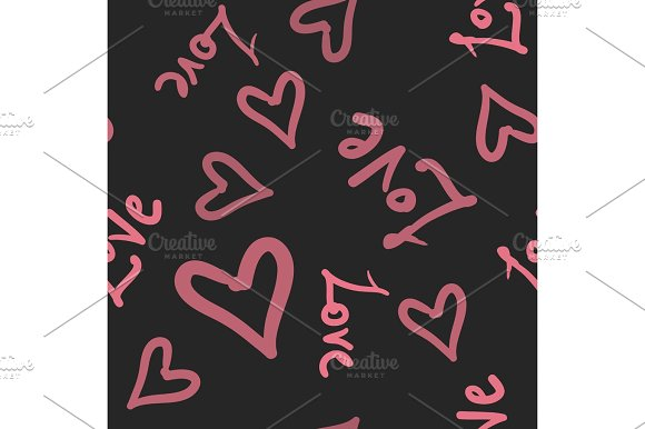 Pink On Dark Seamless Pattern With Hearts Texture For Scrapbooking Wrapping Paper Textiles Web Page Surface Design Fashion Print