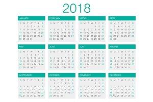 Calendar Vector 2018