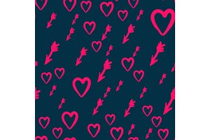 Seamless texture with hearts and arrows vector Love Print