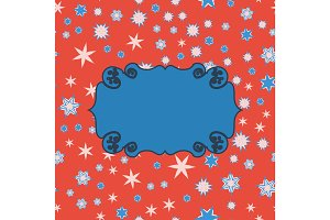 Scrapbooking template blue on red place for text for invitation, greeting, happy birthday, label, postcard, frame, baby or child posrcard, children pattern, clip art, holiday, gift and etc.
