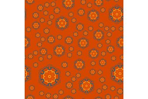 Mandala Geometric Seamless Pattern. Repeating Background Texture in Orange Colour. Stylish Vector Illustration Print.