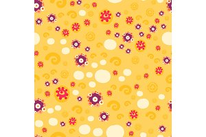 Sunny Yellow Color ditsy floral seamless background