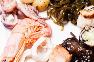 Various Cooked Seafood