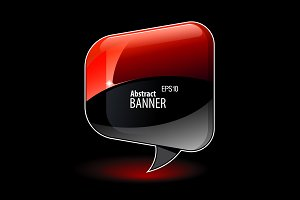 Shiny gloss red and black banner