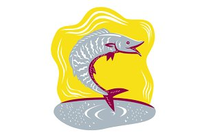 Wahoo Fish Jumping Retro