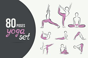 80 artistic YOGA poses SET