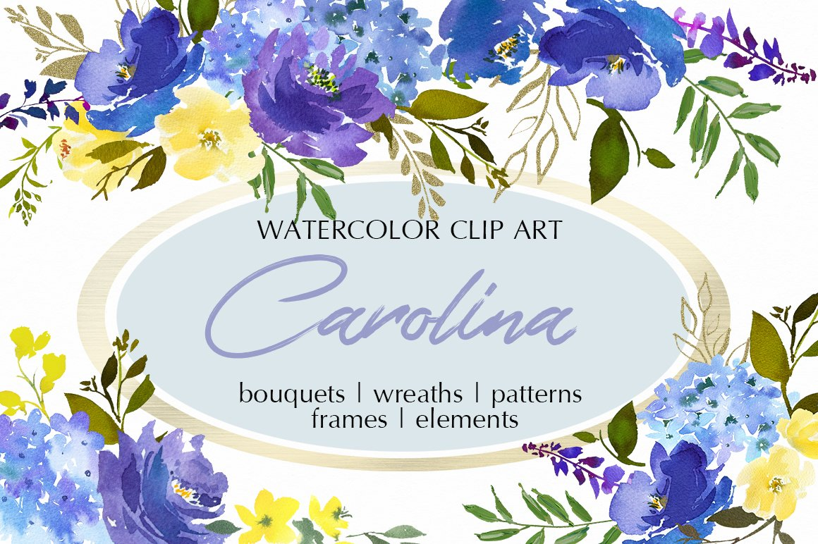 Royal blue watercolor floral clipart illustrations creative market izmirmasajfo Gallery