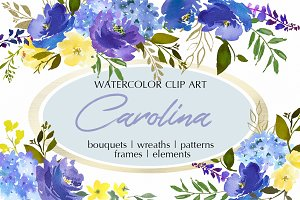 Royal Blue Watercolor Floral Clipart