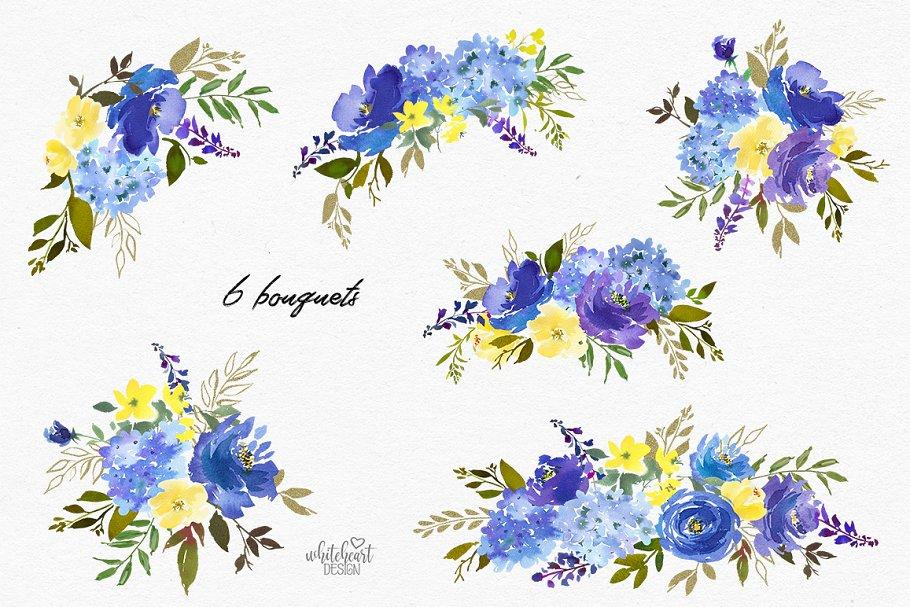 Royal Blue Floral Frame Png