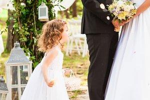 Wedding flying rose petals