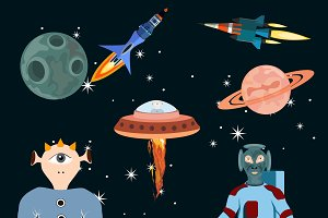 Space objects vector set