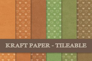 Kraft Paper ~ Hearts and Blank