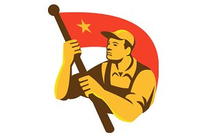Communist Worker With Red Flag Star