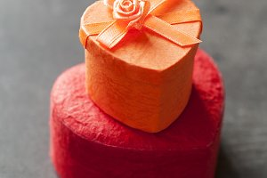 Valentine's day consept: heart shaped gift boxes. Shallow DOF