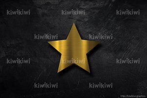 Gold star on black background