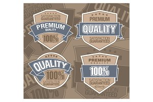 premium vector label with ribbon