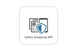 Safety Shopping APP Icon. Flat Design.