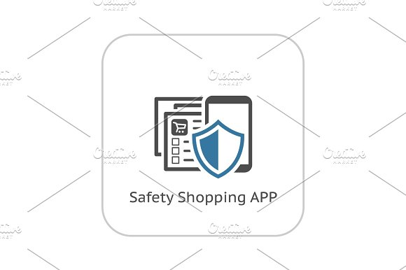 Safety Shopping APP Icon Flat Design