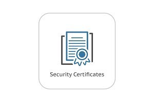 Security Certificates Icon. Flat Design.