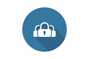 Multikey Security Services Icon. Flat Design.