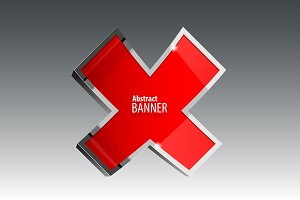 Shiny gloss red vector banner