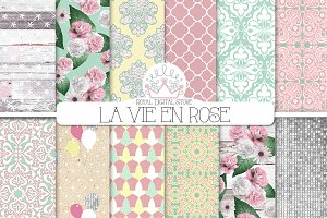 MINT and PINK shabby chic patterns