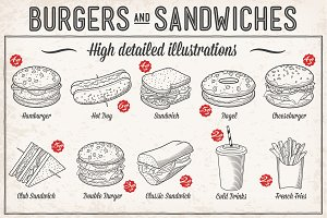 Burgers and Sandwiches Illustrations