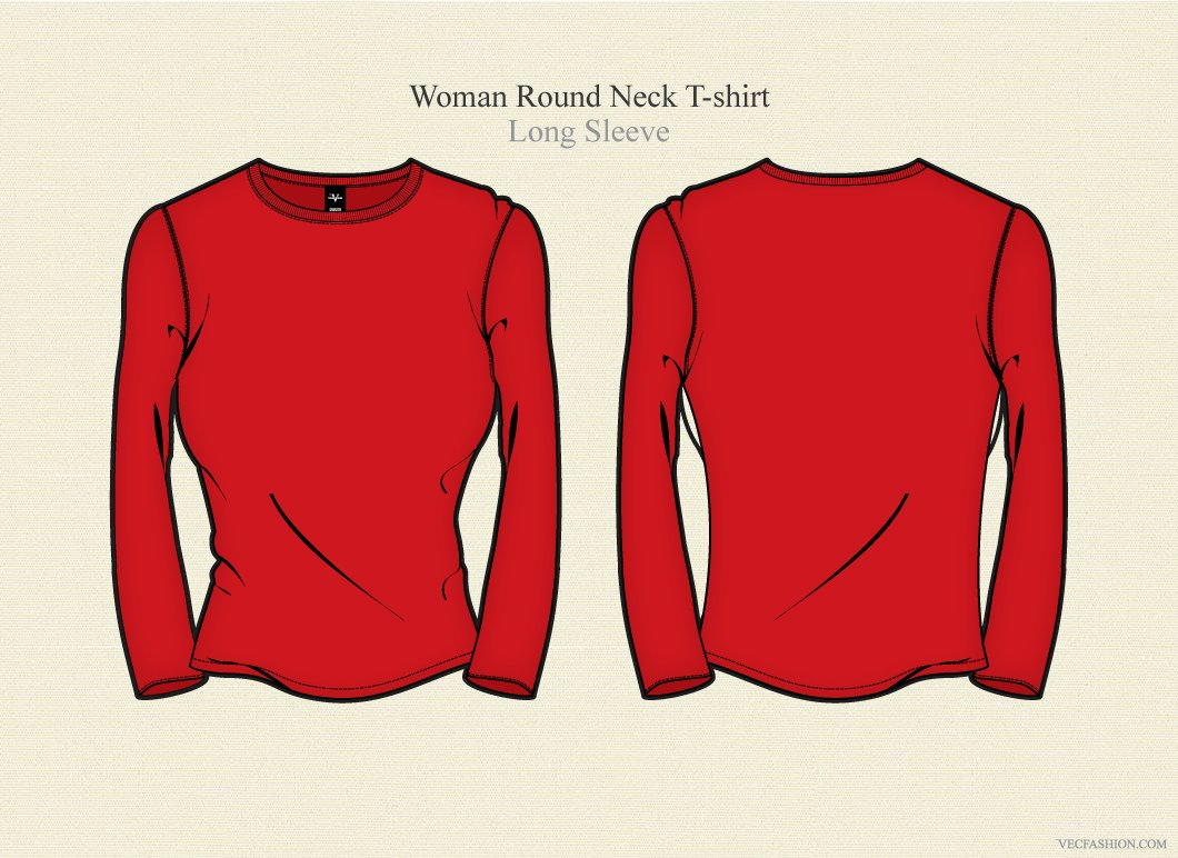Woman round neck t shirt long sleeve illustrations for Long sleeve t shirt template