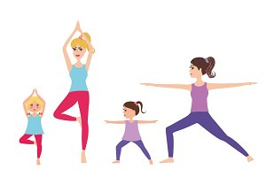 Cartoon mom and baby practicing yoga