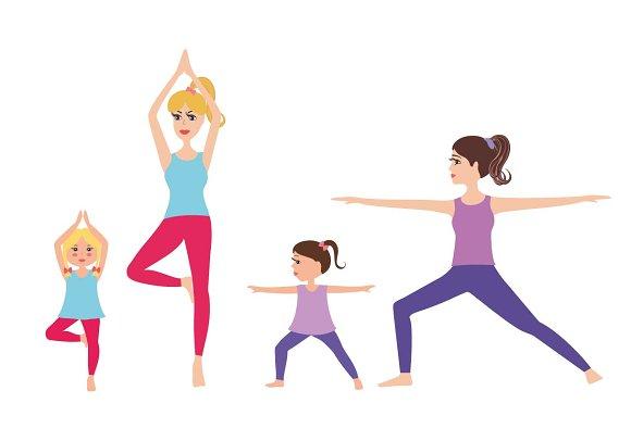 Cartoon Mom And Baby Practicing Yoga
