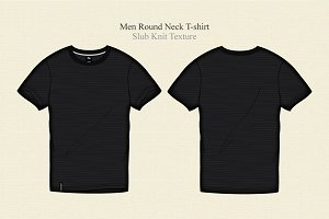 Men Black Round Neck T-shirt