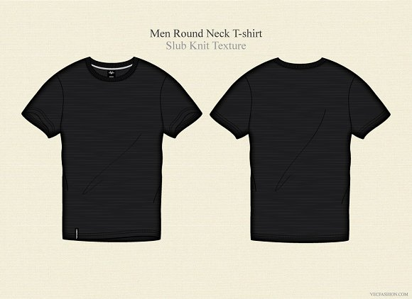 Men Black Round Neck T-shirt ~ Illustrations on Creative Market