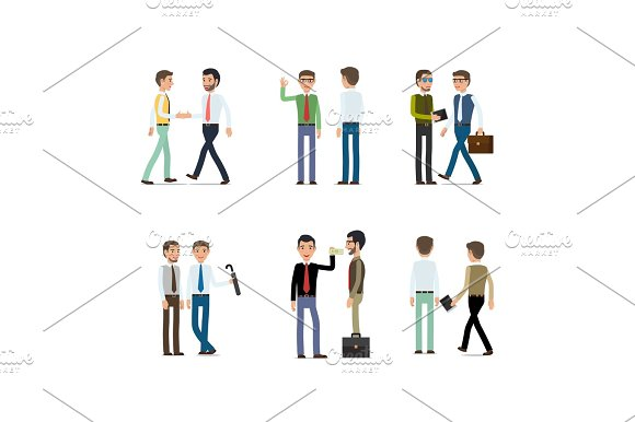 Businessmen Working Concept Collection On White