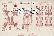 Corset Patent Drawing Brushes Set