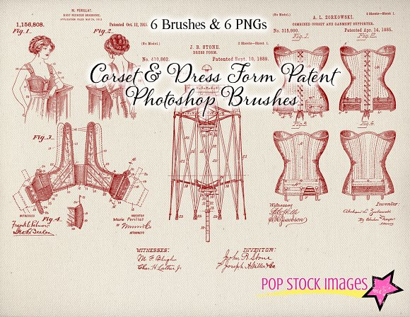 Corset Patent Drawing Brushes Set in Photoshop Brushes - product preview 2